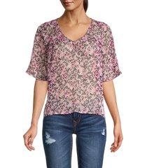 bobeau women's floral-print v-neck top - mauve floral - size xl