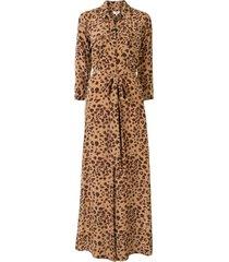 l'agence leopard print maxi shirt dress - brown