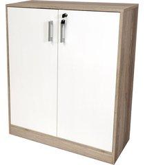 armário livorno c/ 2 portas 2 prateleiras c/ chave branco/carvalho bonatto