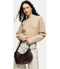 camel super crop brushed knitted sweater - camel