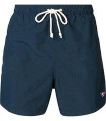 maison kitsuné elastic waist swim shorts - blue