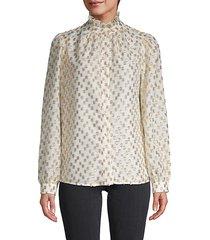 lurex dotted ruffle-neck blouse