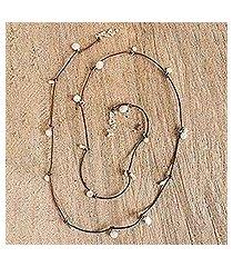 cultured pearl wrap necklace, 'rustic treasure in brown' (mexico)
