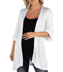 24seven comfort apparel open front elbow length sleeve maternity cardigan