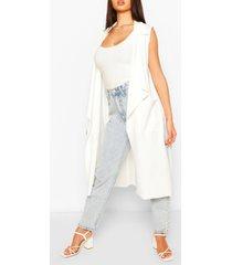 mesh back sleeveless jacket, ivory