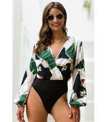 multicolor wrap diseño body tropical con mangas de linterna y cuello en v