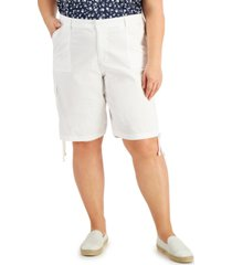 karen scott plus size drawstring-hem shorts, created for macy's