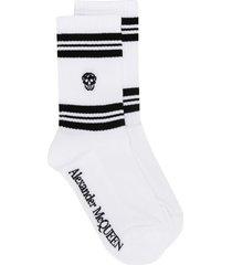 alexander mcqueen skull knitted socks - white