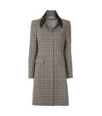 martha medeiros trench coat 'renascença' xadrez - cinza