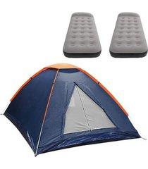 barraca camping nautika panda 2 pessoas + 2 colchões solteiro inflável star