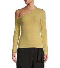 lea & viola women's one-shoulder top - mustard - size m