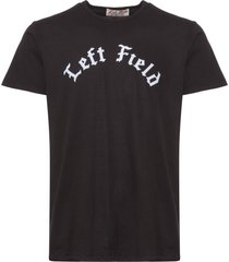 left field black left field logo t-shirt flock tee logo