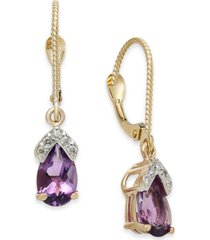 amethyst (1-5/8 ct. t.w.) & diamond drop earrings in 14k rose gold