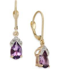 amethyst (1-5/8 ct. t.w.) & diamond drop earrings in 14k rose gold