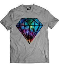 camiseta manga curta skull clothing diamante galaxy cinza - cinza - masculino - algodã£o - dafiti