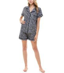 roudelain printed button top & shorts pajama set