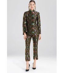 ornate floral mandarin collar jacket dress, women's, black, cotton, size 8, josie natori