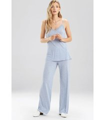 natori feather essentials cami pajamas with lace, women's, blue, size l natori