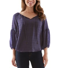 bcx juniors' plaid peasant blouse