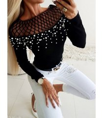 malla de rejilla hueca diseño camiseta de mangas largas bateau