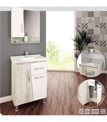 gabinete banheiro 60cm cesto roupas branco lilies mã³veis - branco/multicolorido - dafiti