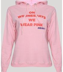 blusão de moletom feminino meninas malvadas com capuz pink