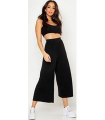 high waist black basic wide leg jersey culottes, black
