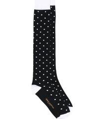 dolce & gabbana panelled polka dot socks - black