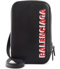balenciaga cash logo leather crossbody bag -