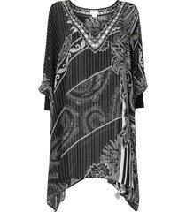 camilla paisley print silk tunic - black