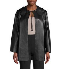 hooded leather coat