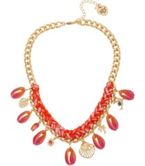 betsey johnson puka shell frontal braided necklace