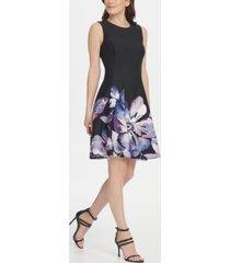 dkny floral scuba fit & flare dress