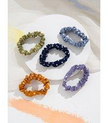 5pcs retro dots print fabric hair ties set