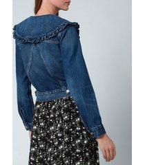 ganni women's heavy denim jacket - dark indigo - eu38/uk10