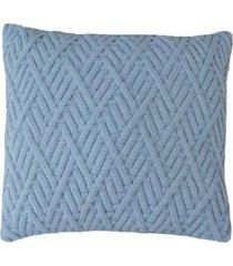 capa almofada tricot 40x40cm / 45x45cm c/zãper sofa trico cod 1025 azul bebe - azul - feminino - dafiti