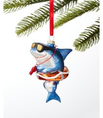 holiday lane at the beach shark in a life buoy ornament, created for macy's