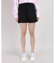 short de moletom feminino mindset cintura alta com recortes preto