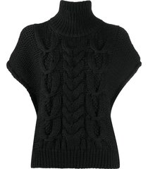 iro short sleeved cable-knit sweater - black