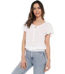 blusa manga corta en bolero blanco mítica