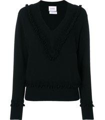 barrie romantic timeless cashmere v neck pullover - black