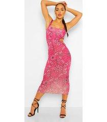 bandana print midaxi jurk met uitsnijding, berry