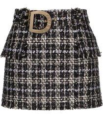 balmain belted tweed mini skirt - black