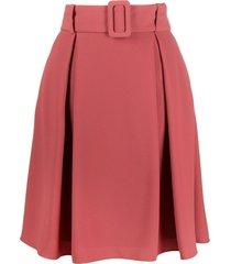 hugo belted a-line skirt - red