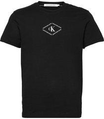 ck monotriangle tee t-shirts short-sleeved svart calvin klein jeans