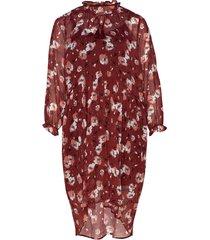 dress print plus long sleeves knälång klänning röd zizzi