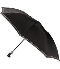 alexander mcqueen guarda-chuva com detalhe de caveira e estampa de logo - preto