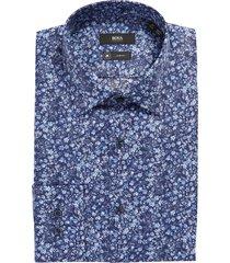 men's boss jango slim fit floral print dress shirt, size 17 - blue