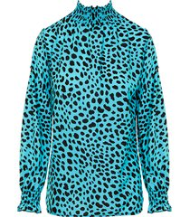 cheetah col blouse turquoise