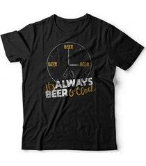 camiseta beer o' clock - unissex
